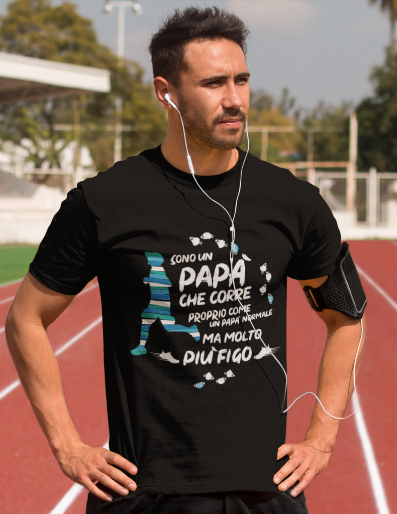 modello con maglietta papà che corre 2019 nera
