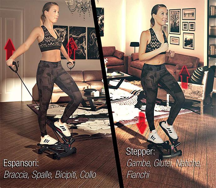 miglior attrezzo per glutei e gambe Sportstech Stepper Fitness con Elastici